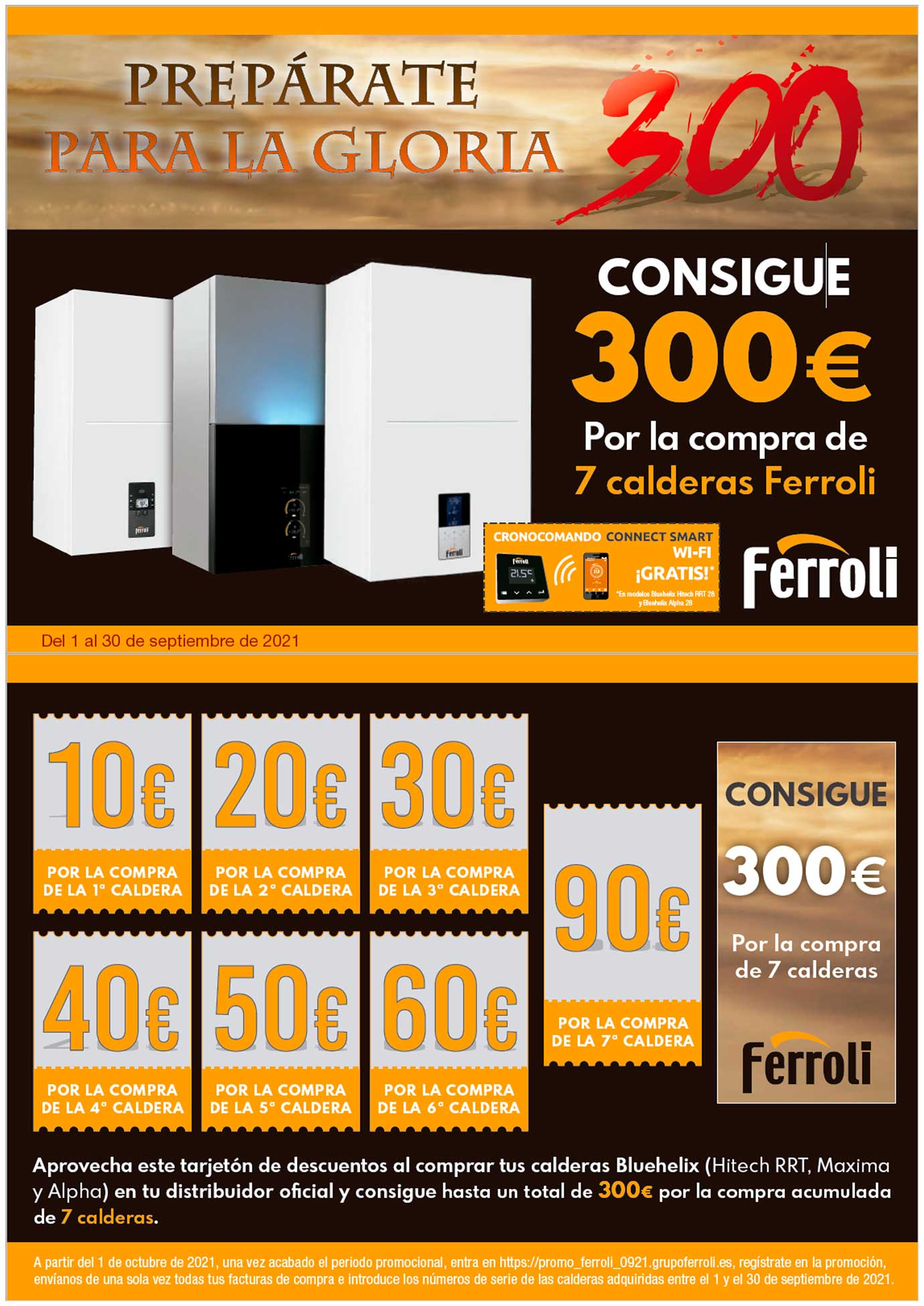 Promoción bono Ferroli 300 euros septiembre 2021